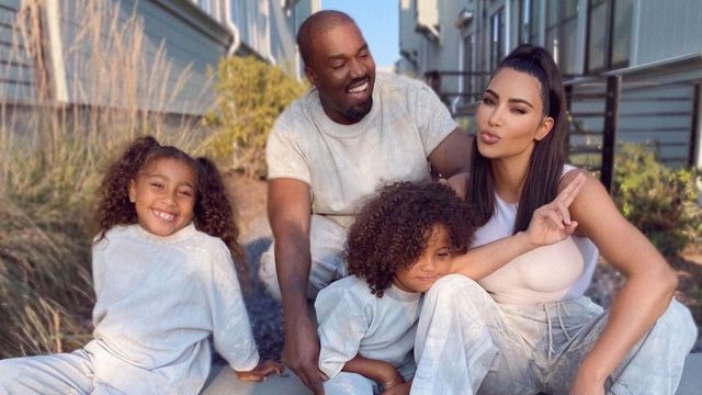 Kim And Kanye With Their Children