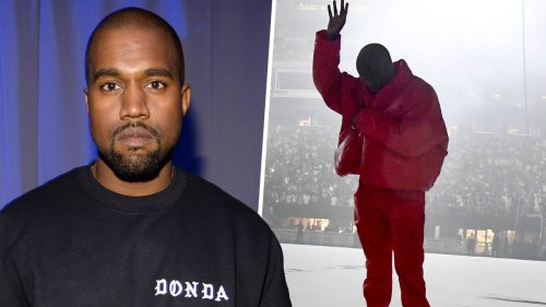 Kanye's Red Outfit In The Listening Event Of DONDA